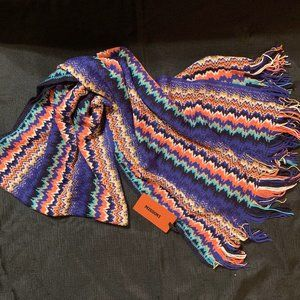 MISSONI Wool Blend Iconic Zig Zag Knit Scarf